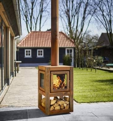 Quaruba 4 zijdig hout buiten reny houtkachel kuijt kachels en haarden - Cortenstaal fabrikant ...